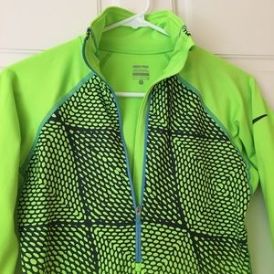 Nike Pro Athletic Top Fitted 1/2 Zip Bright Color